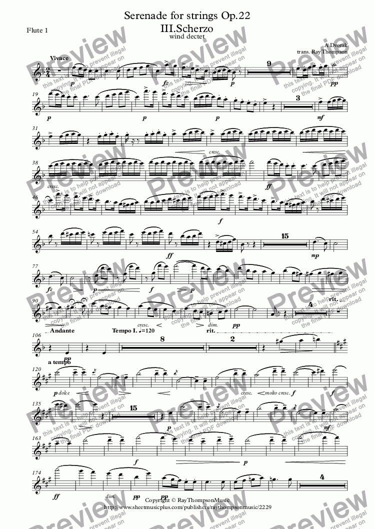 page one of the Flute 1 part from Dvorak: Serenade for Strings Op.22 Mvt.III.Scherzo - wind dectet