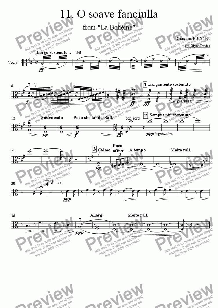 "page one of the Viola part from O soave fanciulla, from ""La boheme"""