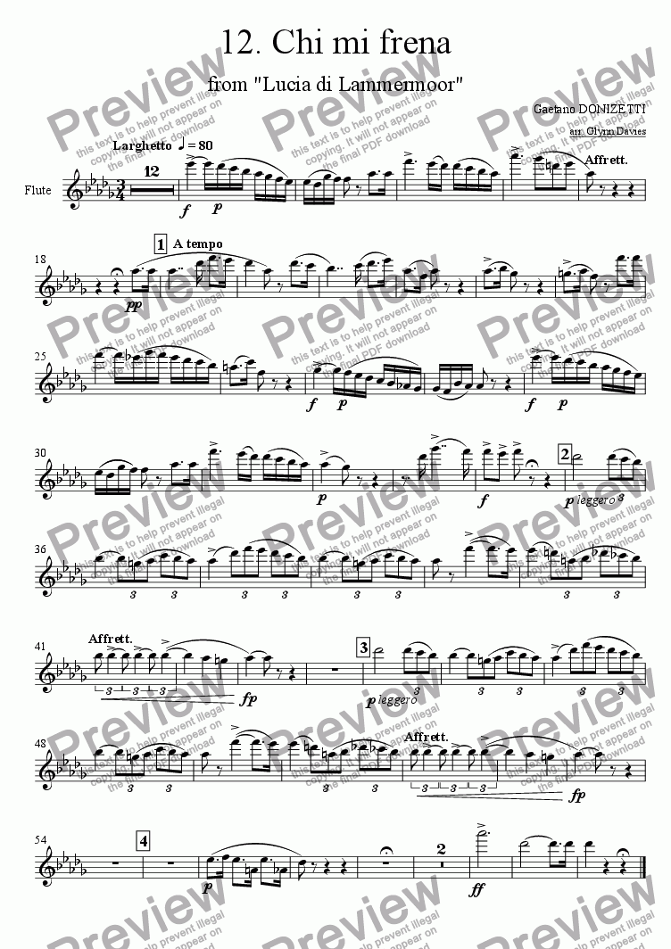 "page one of the Flute part from Sextet: Chi mi frena, from ""Lucia di Lammermoor"""
