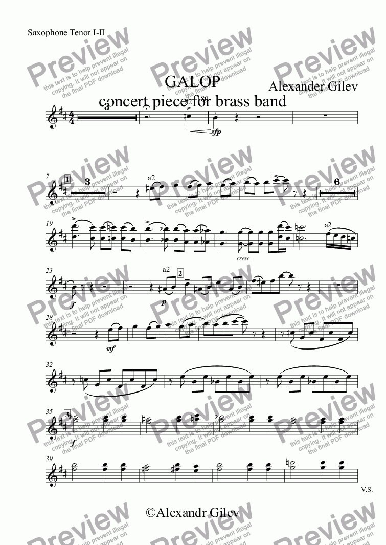 page one of the Saxophone Tenor I-II part from GALOP concert piece for brass band