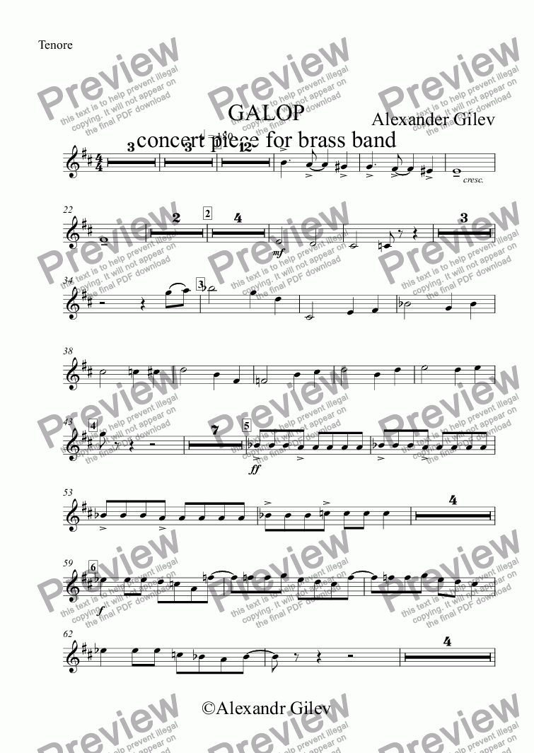 page one of the Tenore part from GALOP concert piece for brass band