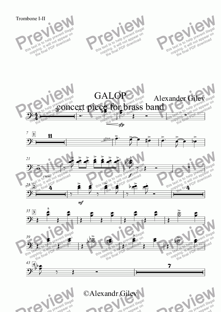 page one of the Trombone I-II part from GALOP concert piece for brass band