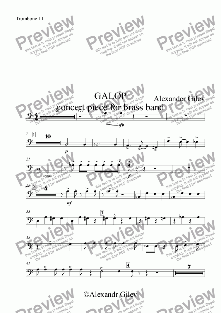 page one of the Trombone III part from GALOP concert piece for brass band