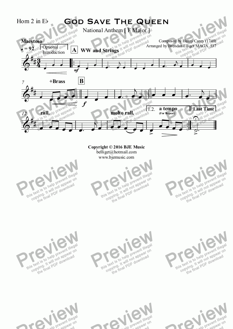 page one of the Horn 2 in E^b part from God Save The Queen National Anthem [ F Major ]
