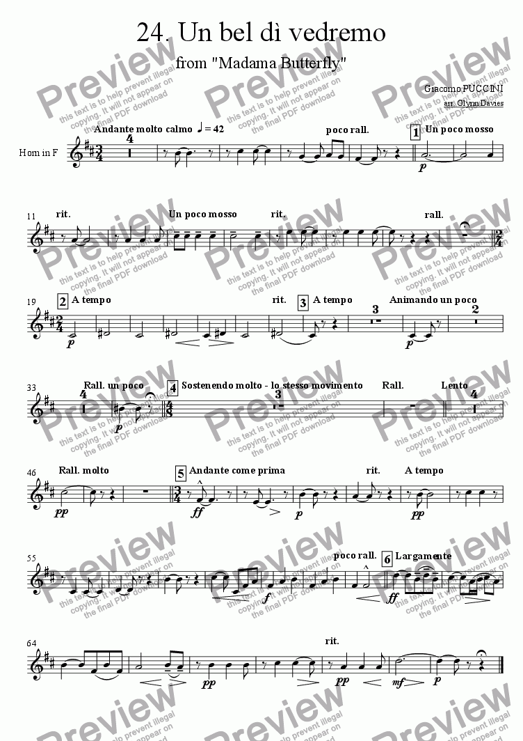 "page one of the Horn in F part from Un bel di vedremo, from ""Madama Butterfly"""
