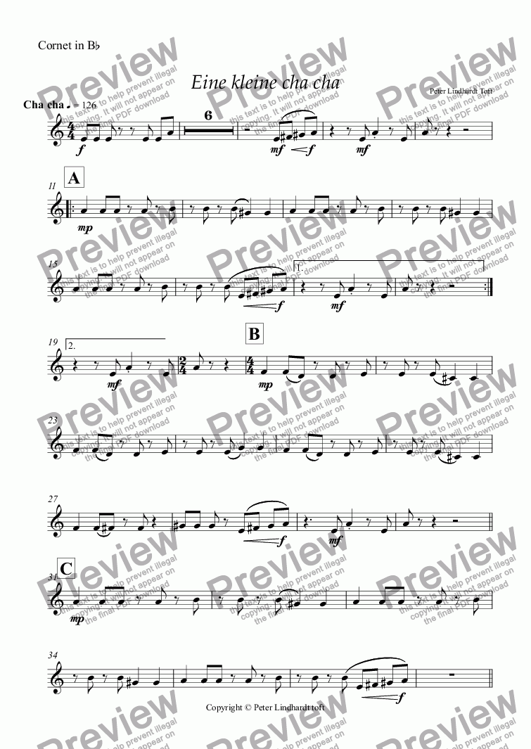 page one of the Cornet in B^b part from Eine kleine cha cha