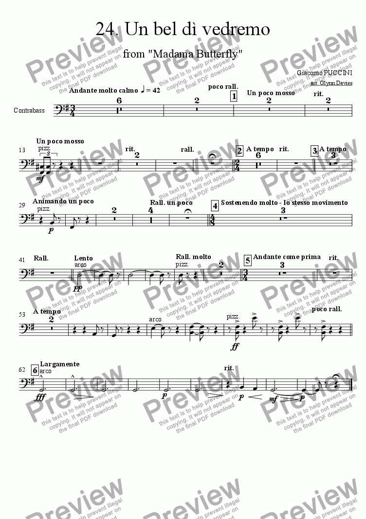"page one of the Bass part from Un bel di vedremo, from ""Madama Butterfly"""
