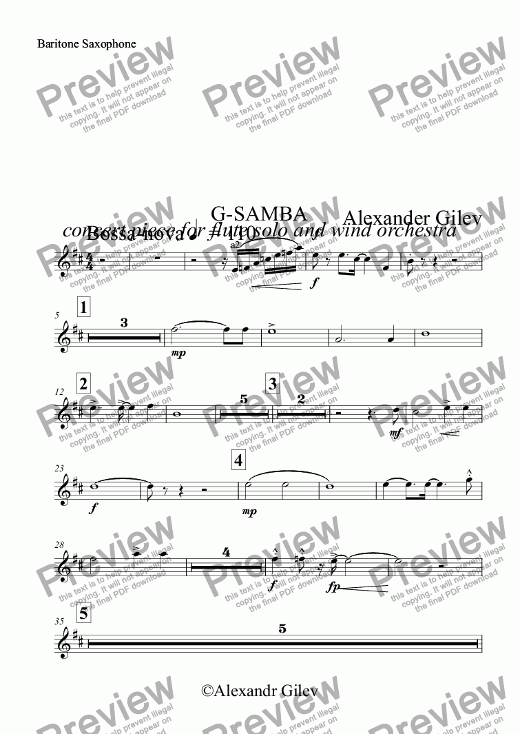 page one of the Baritone Saxophone part from G-SAMBA