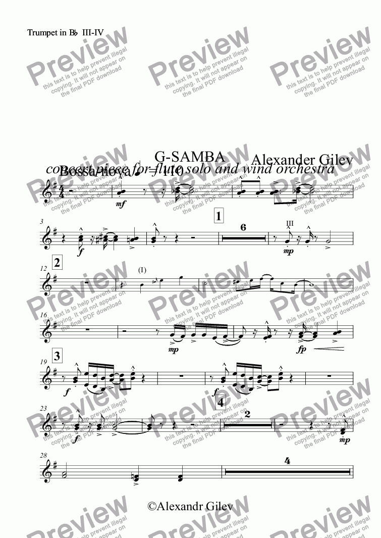 page one of the Trumpet in B^b^ III-IV part from G-SAMBA