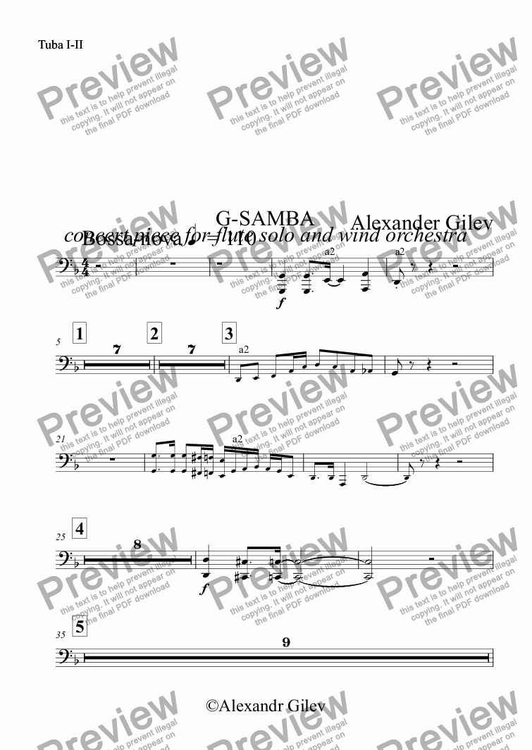 page one of the Tuba I-II part from G-SAMBA