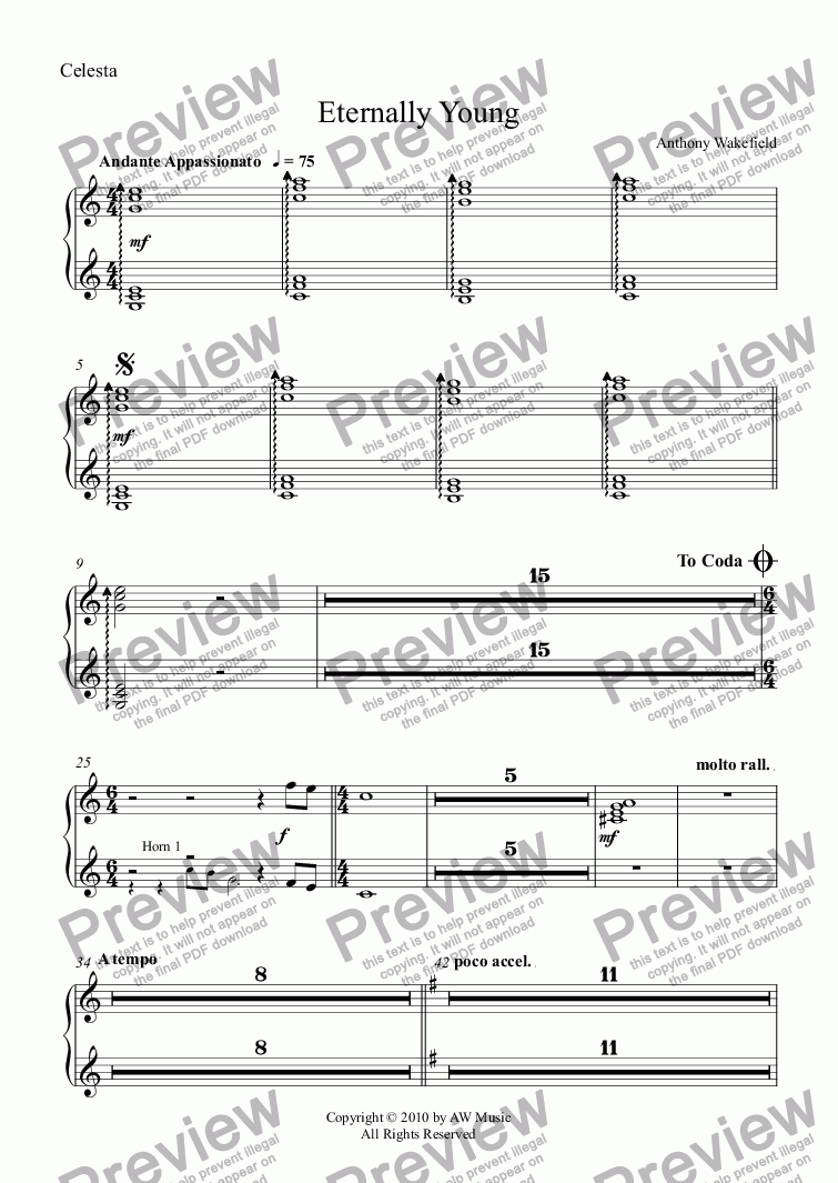 page one of the Celesta part from Eternally Young (Solo for Oboe with Orchestra)