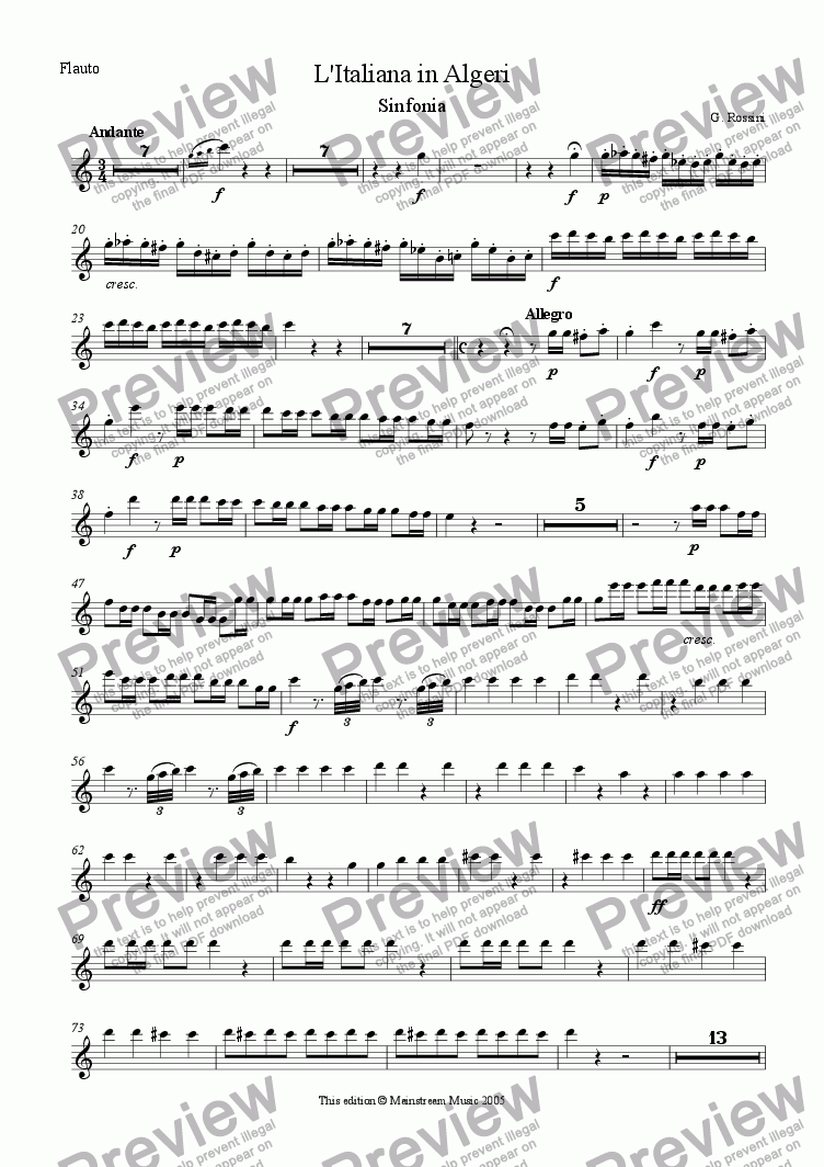 page one of the Flute part from L'Italiana in Algeri
