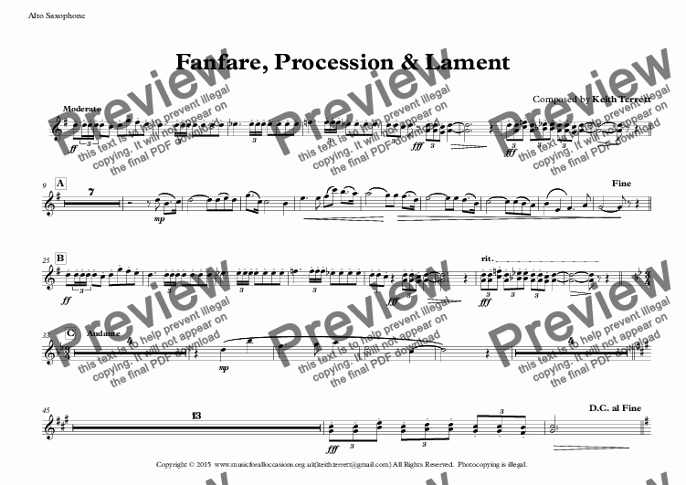 page one of the Alto Saxophone part from Fanfare, Procession & Lament for Concert Band