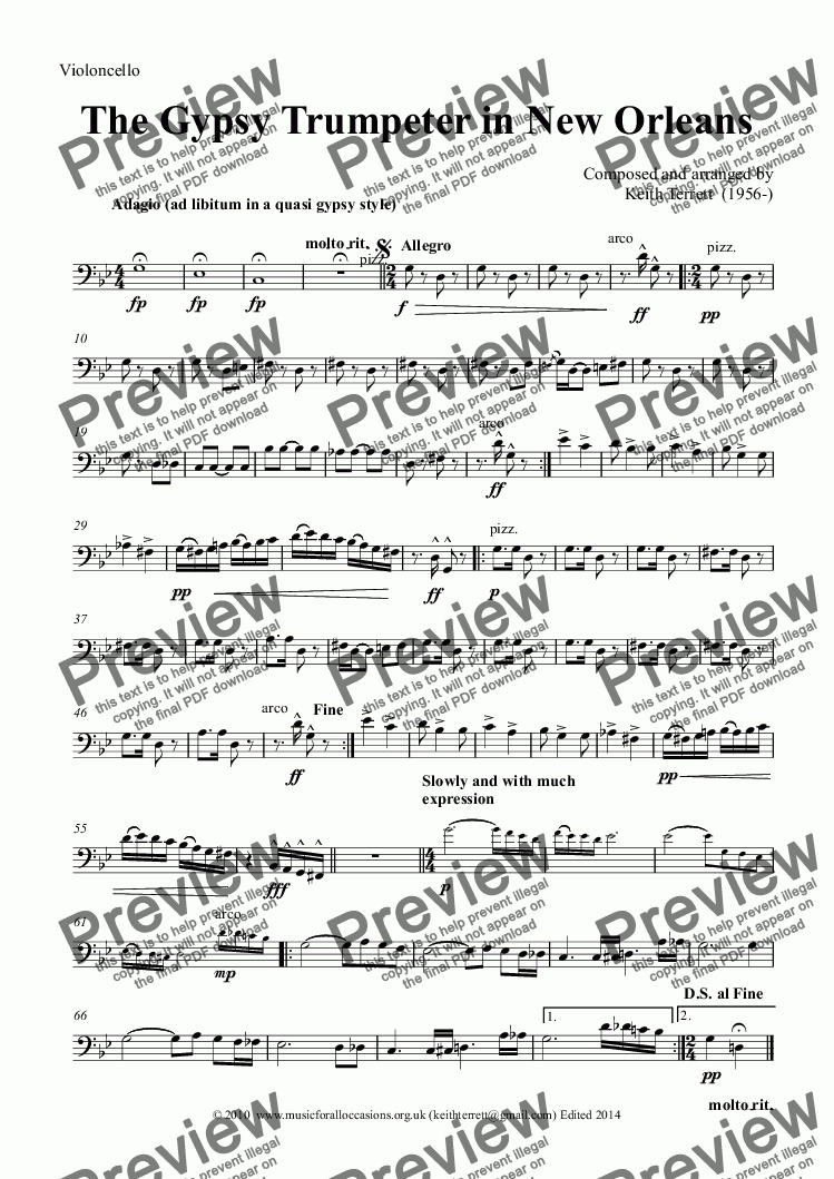 page one of the Violoncello part from The Gypsy Trumpeter in New Orleans for Bb Trumpet & Orchestra