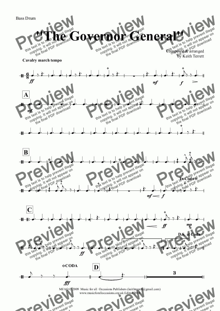 page one of the Bass Drum part from Governor General (The) for Concert/Wind Band (Keith Terrett Classic March Collection)