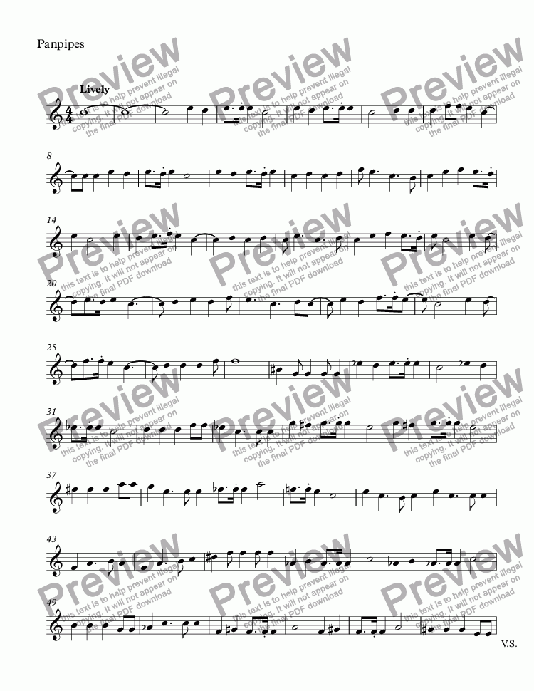 page one of the Panpipes part from At Random Winds