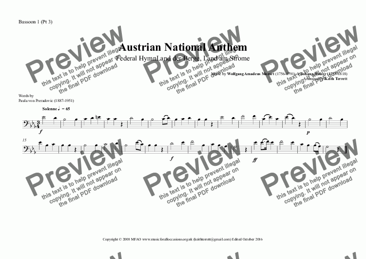 page one of the Bassoon 1 (Pt 3) part from Austrian National Anthem (Federal Hymn Land der Berge, Land am Strome) for Wind Ensemble  (MFAO World National Anthem Series)