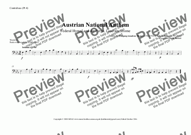 page one of the Contrabass (Pt 4) part from Austrian National Anthem (Federal Hymn Land der Berge, Land am Strome) for Wind Ensemble  (MFAO World National Anthem Series)