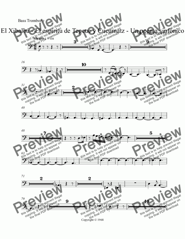 page one of the Bass Trombone part from El Xibalba, a dodecaphonic symphonic poem for big orchestra
