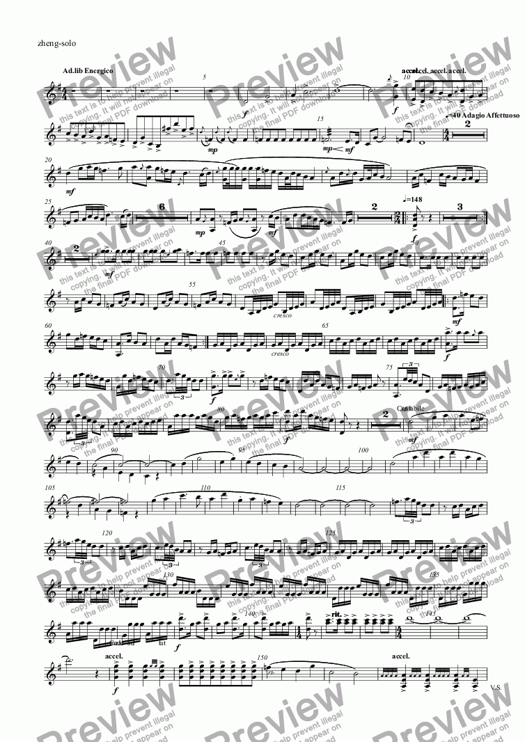 page one of the zheng-solo part from untitled