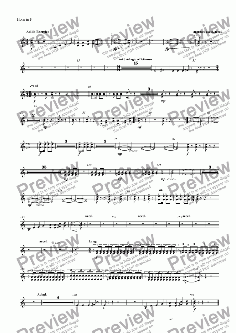 page one of the Horn in F part from untitled