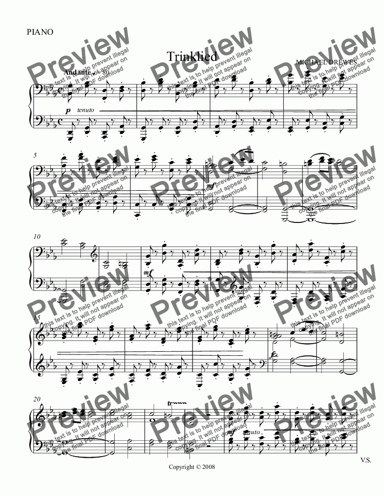page one of the PIANO part from Drinking Song (Trinklied)