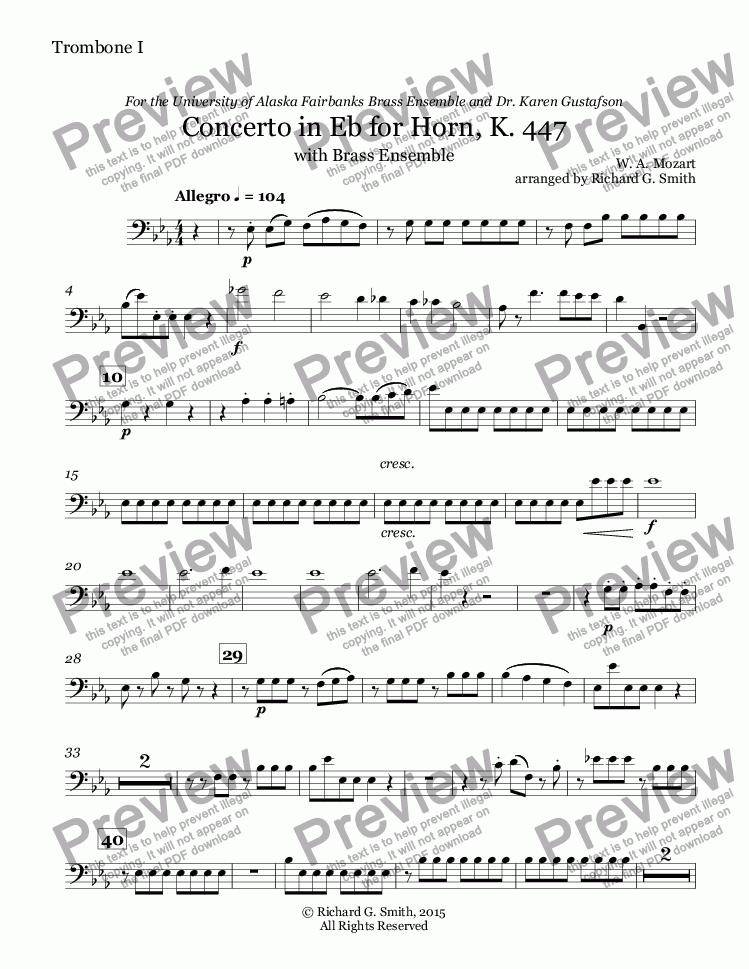 page one of the Trombone I in Bb part from Mozart: Concerto 3 in Eb for Horn - Full Score