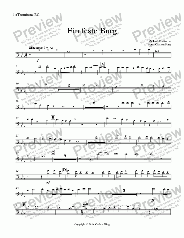 page one of the 1stTrombone BC part from Ein feste Burg