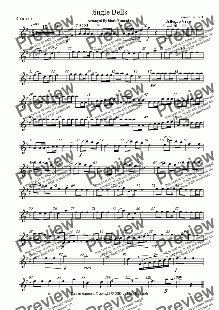 page one of the Soprano Saxophone part from Jingle Bells, Saxophone Quartet