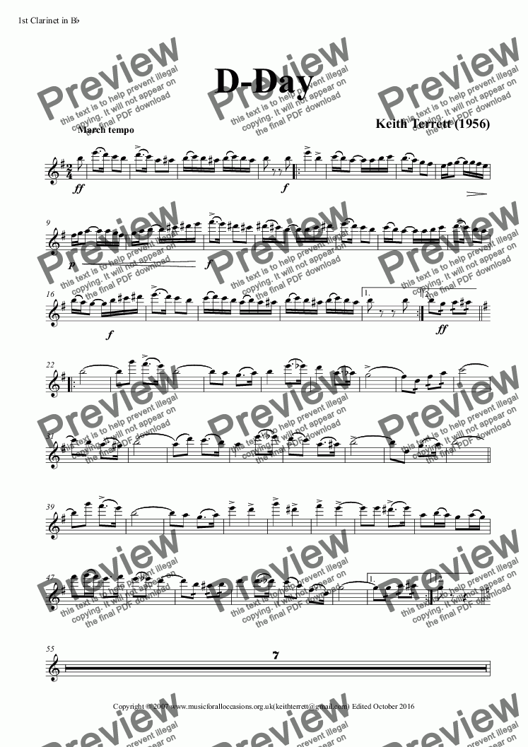 page one of the 1st Clarinet in B^b part from D-Day March for Concert Band