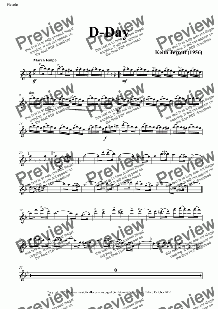 page one of the Piccolo part from D-Day March for Concert Band