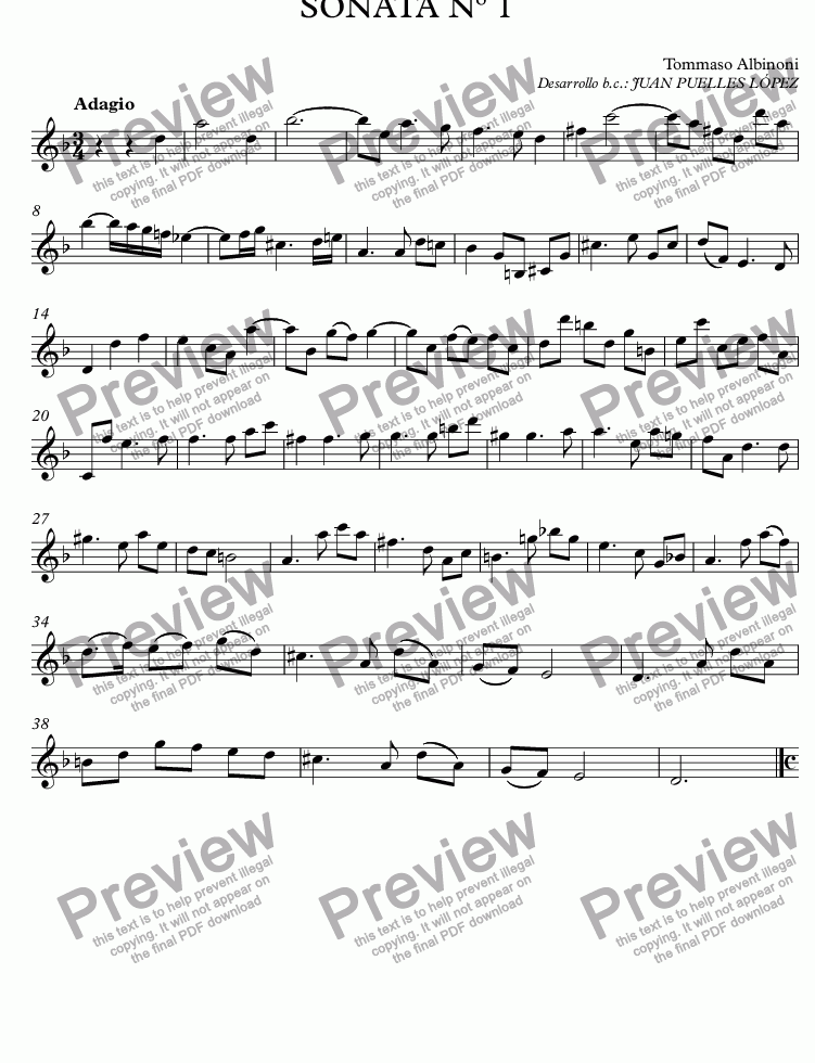 page one of the Violín part from SONATA Nº 1