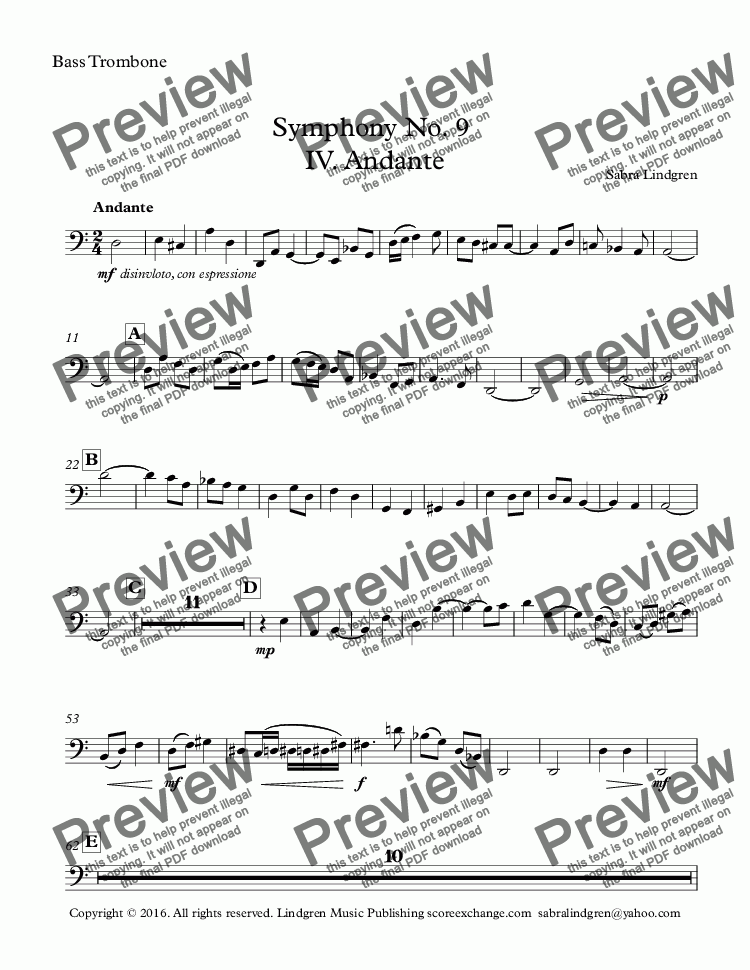 page one of the Bass Trombone part from Symphony No. 9  IV. Andante