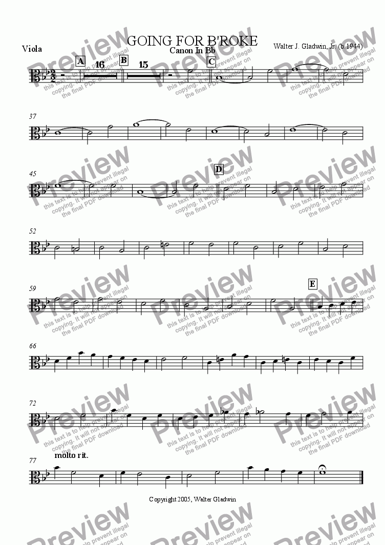 page one of the Viola part from Going For B'roke + Strings