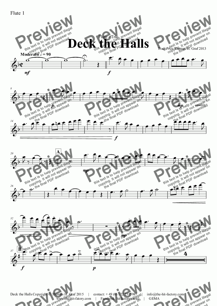 page one of the Flute 1 part from Deck the halls - Christmas Carol - Polyphonic - Flute Quartet