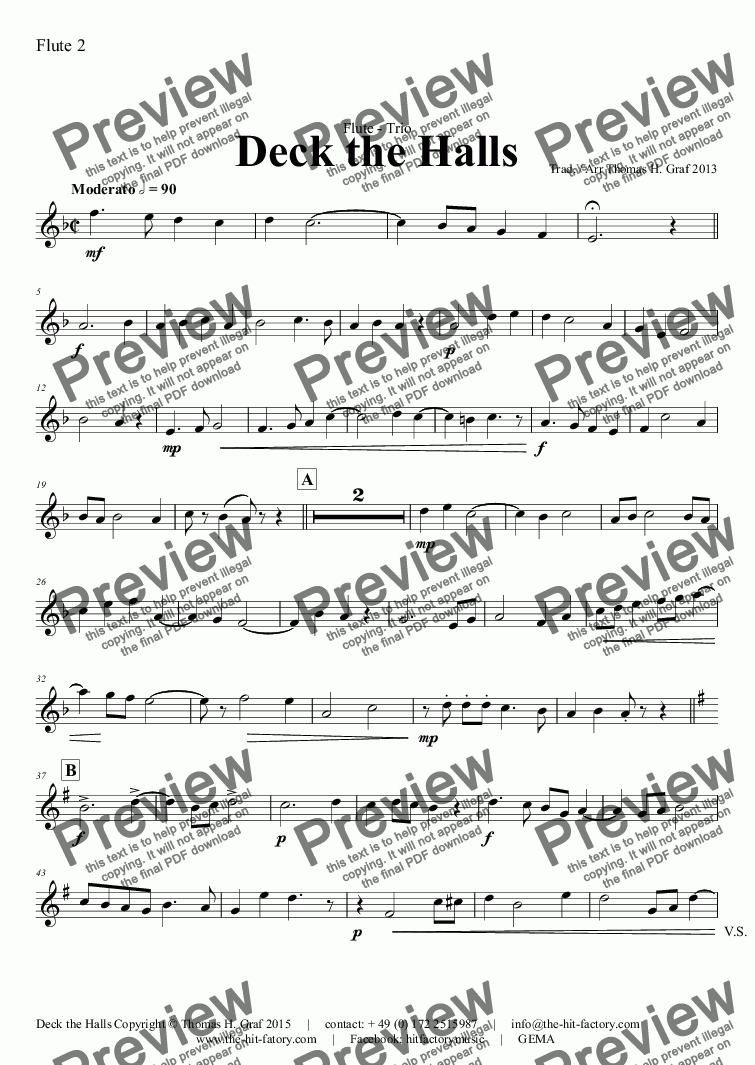 page one of the Flute 2 part from Deck the halls - Christmas Carol - Polyphonic - Flute Quartet