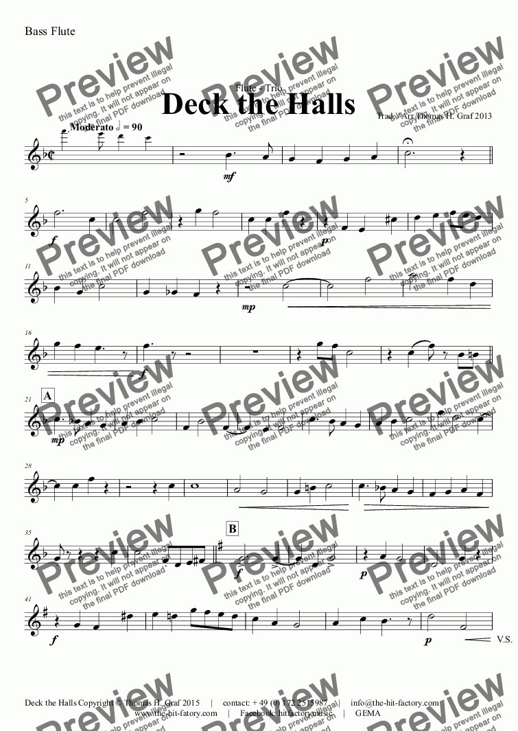page one of the Bass Flute part from Deck the halls - Christmas Carol - Polyphonic - Flute Quartet