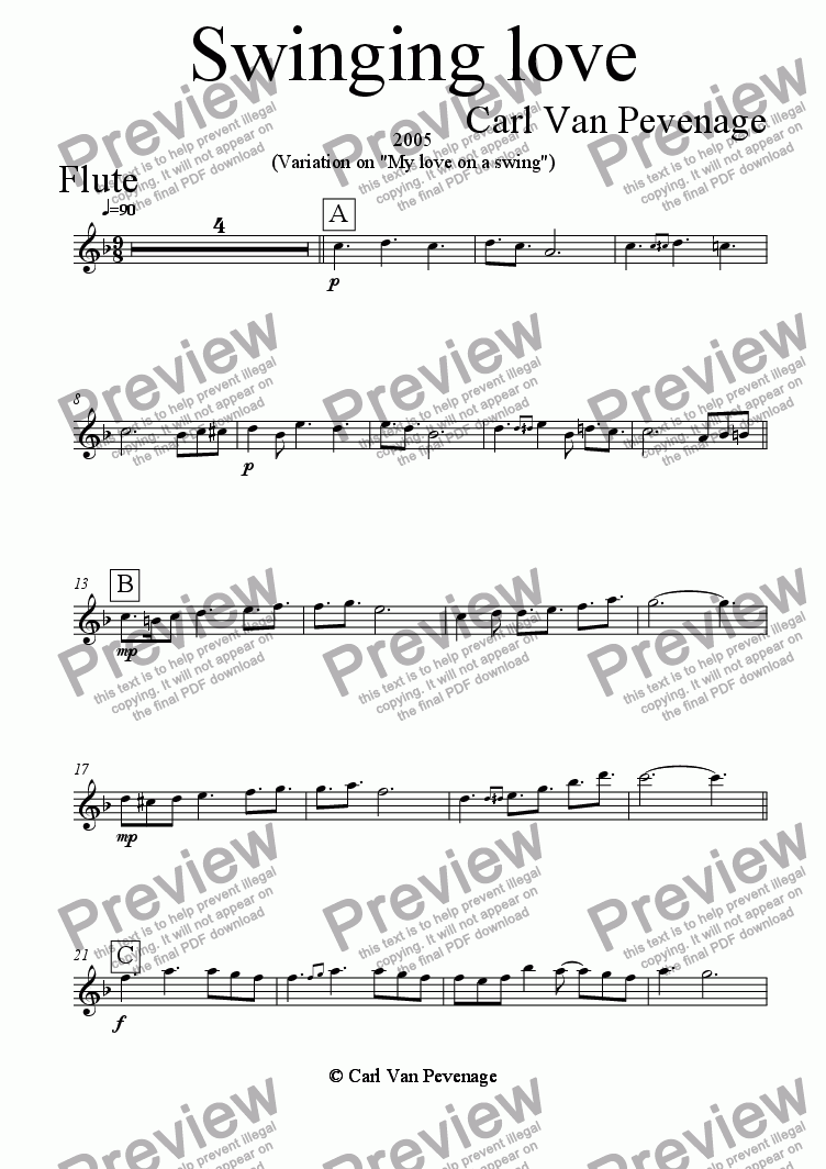 page one of the Flute part from Dreaming Love