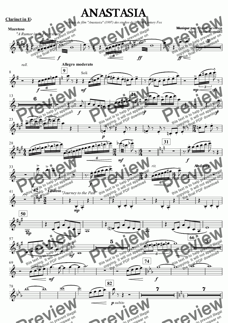 "page one of the Clarinet in E^b part from ANASTASIA extraits du film ""Anastasia"" (1997) des studios de la 20th Century Fox"