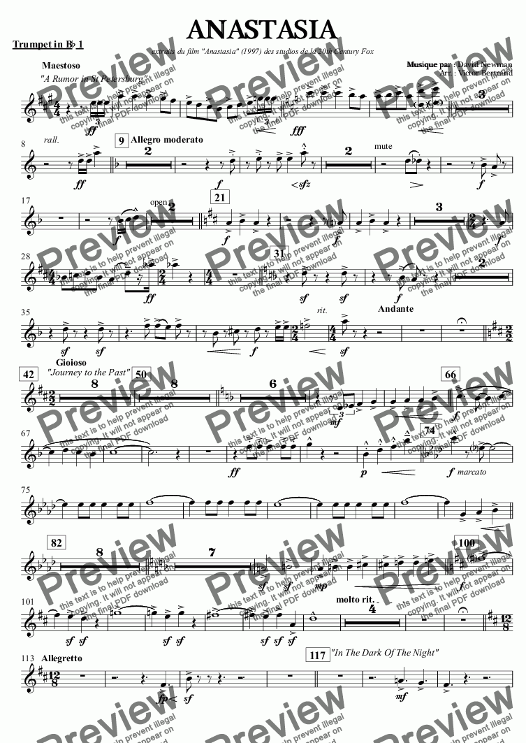 "page one of the Trumpet in B^b 1 part from ANASTASIA extraits du film ""Anastasia"" (1997) des studios de la 20th Century Fox"