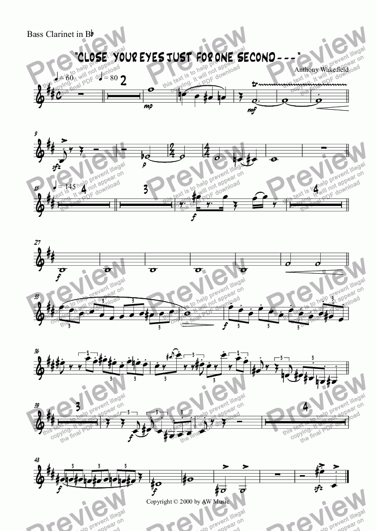 page one of the Bass Clarinet in Bb part from Close Your Eyes