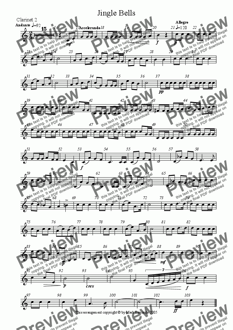 page one of the Clarinet 2 part from Jingle Bells, Clarinet Quartet