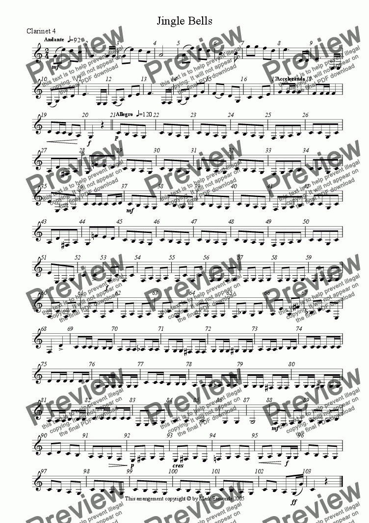 page one of the Clarinet 4 part from Jingle Bells, Clarinet Quartet