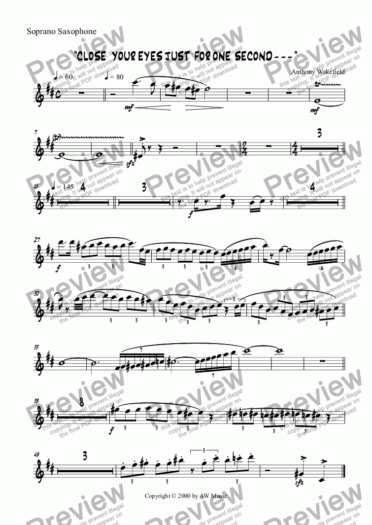 page one of the Soprano Saxophone part from Close Your Eyes