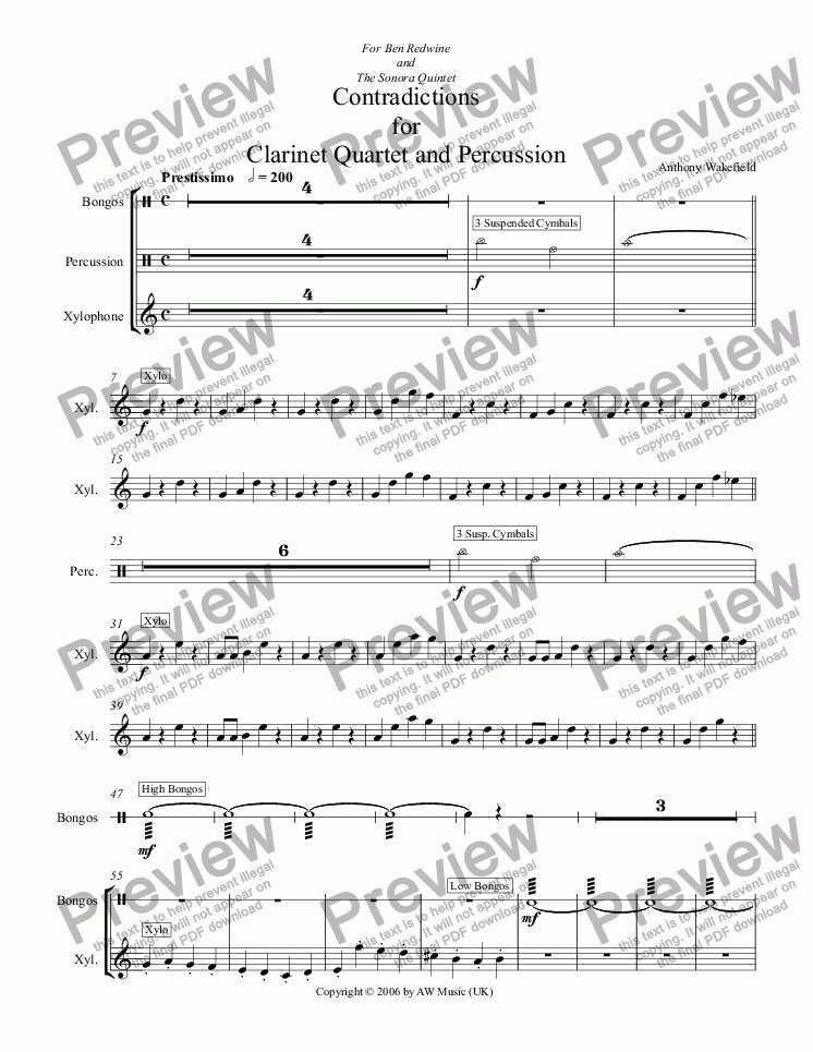 page one of the Bongos part from Contradictions for Clarinet Quartet and Percussion