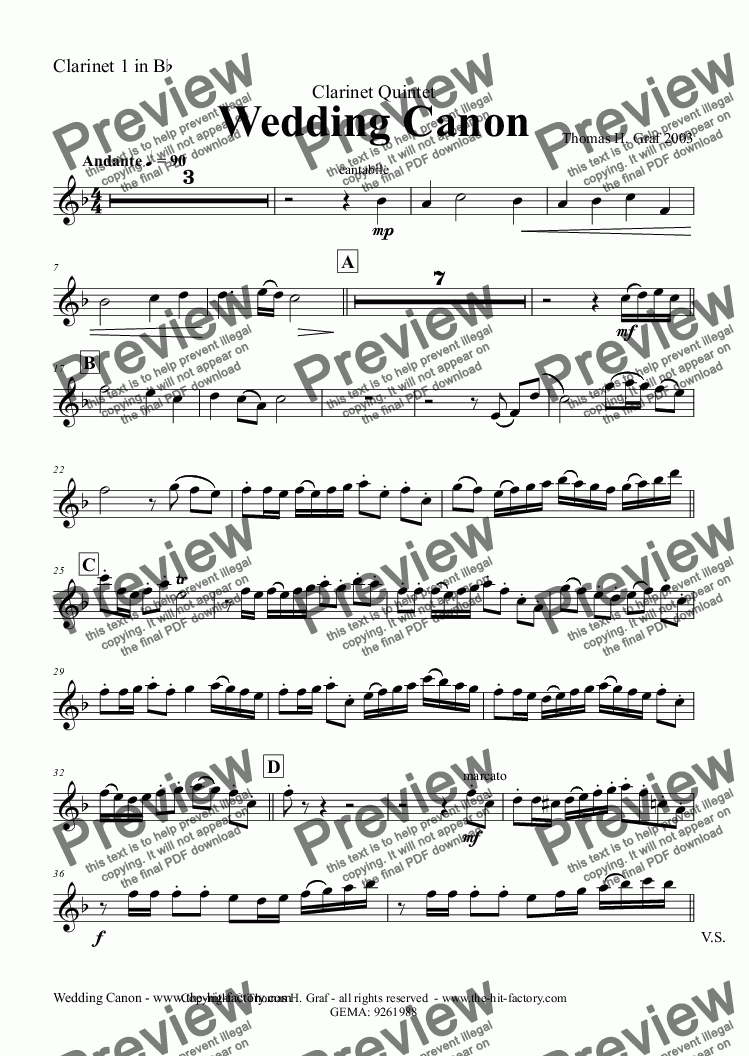 page one of the Clarinet 1 in B^b part from Wedding Canon - Festive Concert Piece - Clarinet Quintet