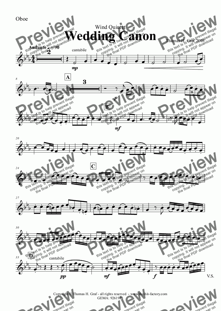 page one of the Oboe part from Wedding Canon - Festive Concert Piece - Wind Quintet