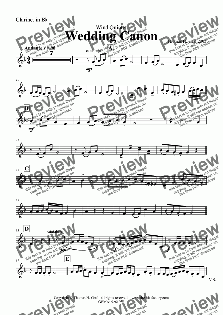 page one of the Clarinet in B^b part from Wedding Canon - Festive Concert Piece - Wind Quintet