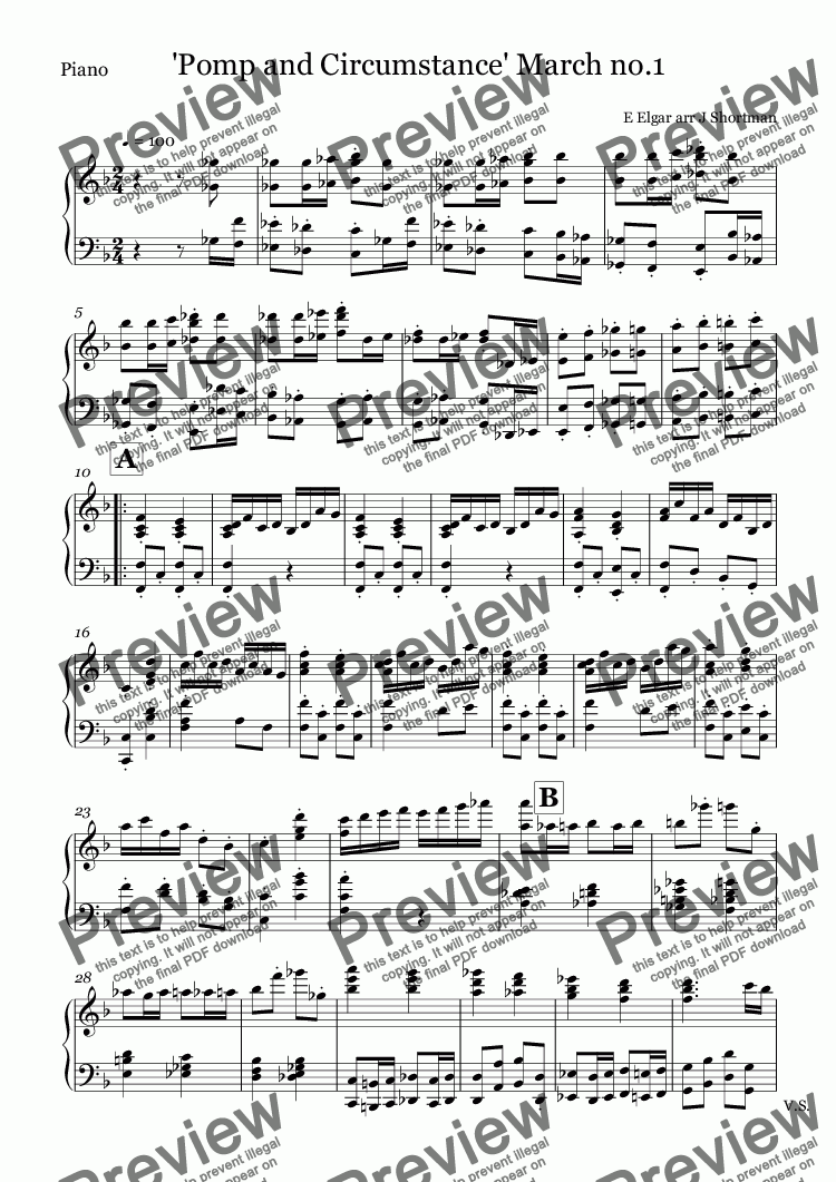 page one of the Piano part from Elgar - 'Pomp and Circumstance' March no.1 (arranged for training orchestra)