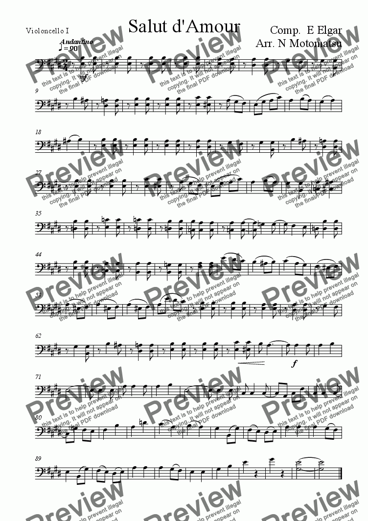 page one of the Violoncello I part from Salut d'Amour (for 1 VIolin & 2 Violoncellos)